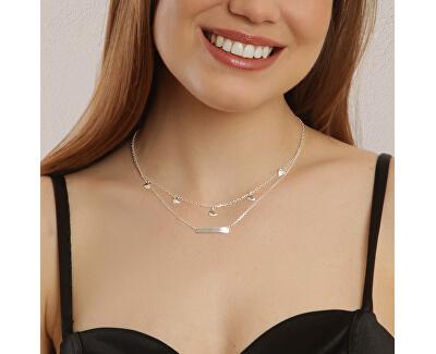 Dvojitý stříbrný náhrdelník Lots of hearts N6514_RH