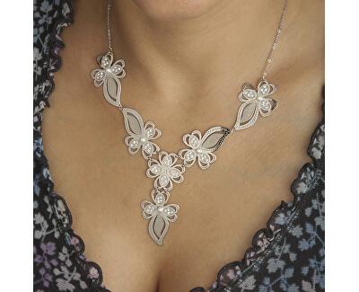 Luxusní stříbrná sada Sparkling Leaves TG2019_TG1010NAM_RH (náhrdelník, náušnice)