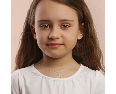 Něžný stříbrný náhrdelník Tyrkysový květ KO6480_BR030_40_RH (řetízek, přívěsek)
