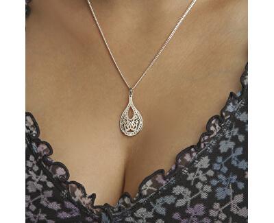 Orientální stříbrný náhrdelník Kapka s krystaly KO2008_CU050_45_RH  (řetízek, přívěsek)