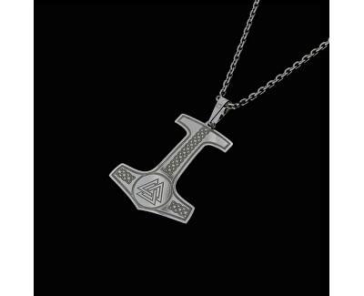 Pánský stříbrný náhrdelník Mjölnir KO5001_MO060_50_RH  (řetízek, přívěsek)