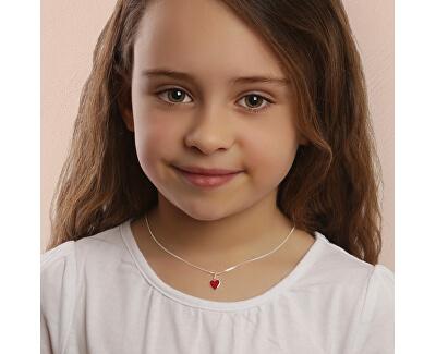 Romantický stříbrný náhrdelník Červené srdce KO6485_CU035_40_RH (řetízek, přívěsek)
