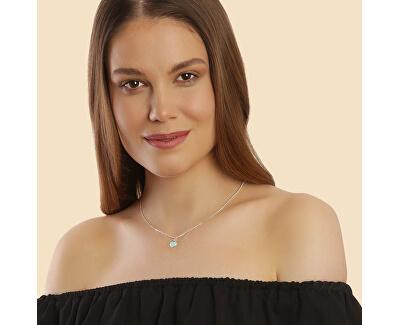 Romantický stříbrný náhrdelník Mint Heart KO6367_CU040_45_RH (řetízek, přívěsek)