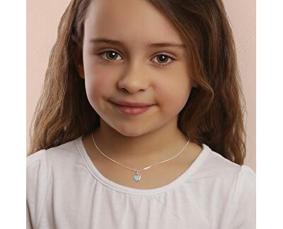 Romantický stříbrný náhrdelník Modré srdce KO6484_CU035_40_RH (řetízek, přívěsek)