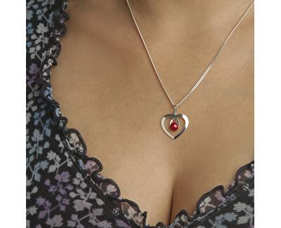 Romantický stříbrný náhrdelník Srdce s krystalem KO1957_CU050_45_RH  (řetízek, přívěsek)