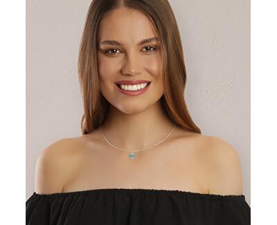 Romantický stříbrný náhrdelník Turquoise heart KO6497_CU040_45_RH (řetízek, přívěsek)