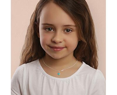 Romantický stříbrný náhrdelník Tyrkysové srdce KO6483_CU035_40_RH (řetízek, přívěsek)
