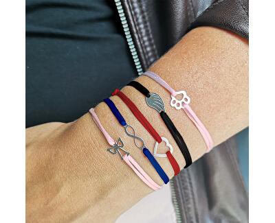 Schnur Kabbala Armband Pfote KA6175 in rosa