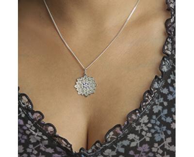 Stříbrný náhrdelník Květina s krystaly KO2016_CU050_45_RH  (řetízek, přívěsek)