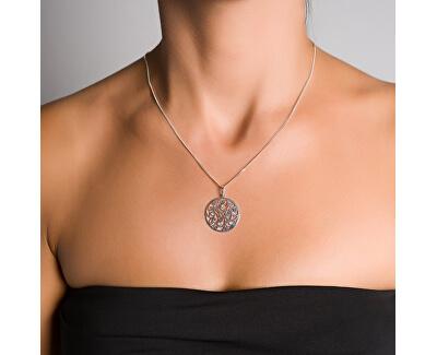 Třpytivý stříbrný náhrdelník s krystaly KO1708M_CU040_45_RH  (řetízek, přívěsek)