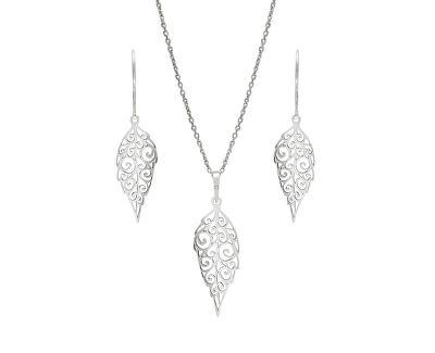 Designová stříbrná sada Lístečky SE1751_MO040_50_NA0934_RH