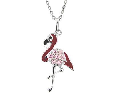 Dětský stříbrný náhrdelník Plameňák KO8090_BR030_40_RH  (řetízek, přívěsek)