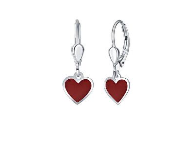 Dívčí stříbrné náušnice Červené srdce NA6489_RH