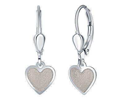 Dívčí stříbrné náušnice Krémové srdce NA6350_RH