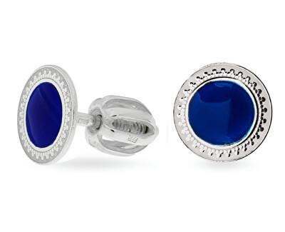 Drobné stříbrné náušnice s modrým středem NA5109_RH