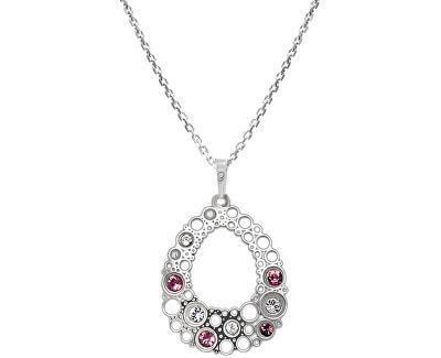 Elegantní stříbrný náhrdelník s krystaly KO2001_CU035_45_RH  (řetízek, přívěsek)