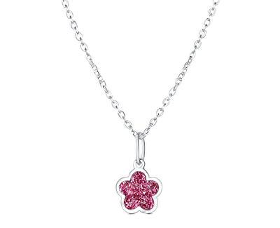Něžný stříbrný náhrdelník Růžový květ KO6335_BR030_40_RH (řetízek, přívěsek)