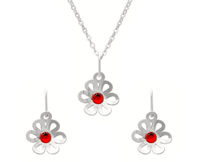 Překrásná souprava šperků pro dívky s krystaly KO2091_NA1032_RH  (řetízek, přívěsek, náušnice)