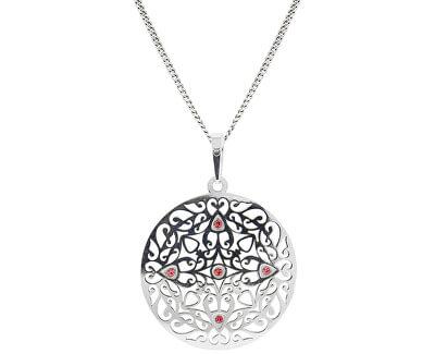 Překrásný stříbrný náhrdelník s krystaly KO5017_CU040_45_RH  (řetízek, přívěsek)