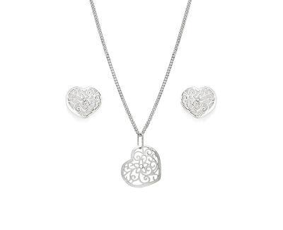 Romantická stříbrná sada Srdce SE1750_CU040_50_NA0846_RH (řetízek, přívěsek, náušnice)
