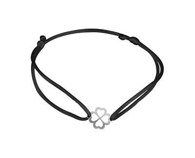 Šňůrkový černý kabala náramek Čtyřlístek KA6196_RH