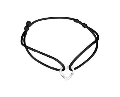 Šňůrkový černý kabala náramek Srdíčko KA6182