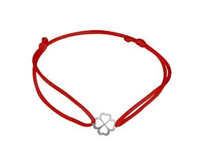 Šňůrkový červený kabala náramek Čtyřlístek KA6193