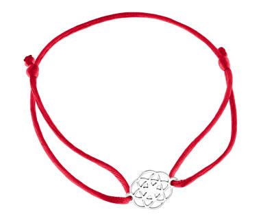 Šňůrkový červený kabala náramek Mandala KA6199