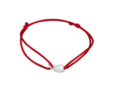 Šňůrkový červený kabala náramek na nohu Andělské křídlo KA6190