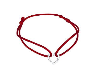 Šňůrkový červený kabala náramek Srdíčko KA6179