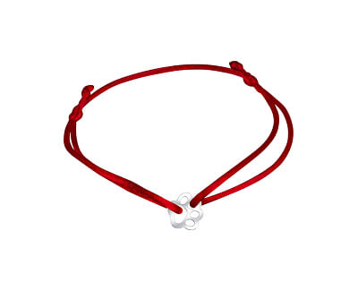 Šňůrkový červený kabala náramek Tlapička KA6174