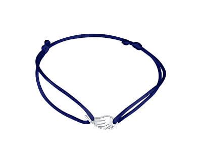 Šňůrkový modrý kabala náramek Andělské křídlo KA6173