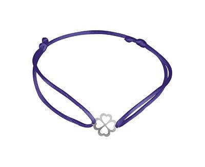 Šňůrkový modrý kabala náramek Čtyřlístek KA6197