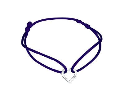 Šňůrkový modrý kabala náramek Srdíčko KA6183