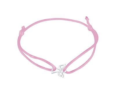Šňůrkový růžový kabala náramek Andělíček KA6165