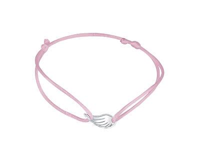 Šňůrkový růžový kabala náramek Andělské křídlo KA6170