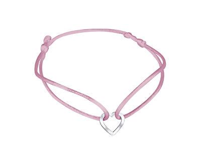Šňůrkový růžový kabala náramek Srdíčko KA6180