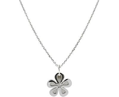 Stříbrný náhrdelník s designem květiny KO0178_MO040_45_RH  (řetízek, přívěsek)