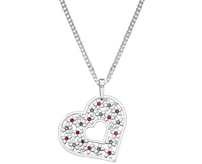 Stříbrný náhrdelník Srdce s krystaly KO2098_CU050_45_RH  (řetízek, přívěsek)