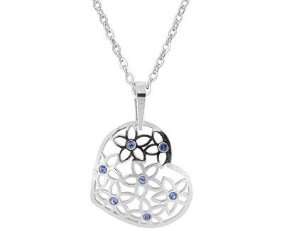 Stříbrný náhrdelník Srdce s modrými krystaly KO2099_BR030_45_RH  (řetízek, přívěsek)