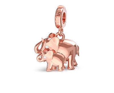 Růžově zlacený přívěsek Sloníci Storie RZLE001