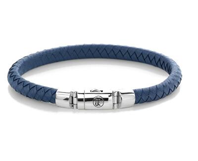 Modrý kožený náramek Half Round Braided Blue RR-L0125-S