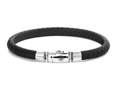 Stylový kožený náramek Half Round Braided Black RR-L0123-S