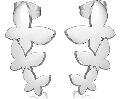Oceľové náušnice s tromi motýliky Trio SRI22