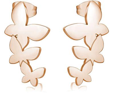 Oceľové náušnice s tromi motýliky Trio SRI25