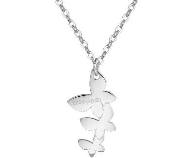 Oceľový náhrdelník s motýlikmi Trio SRI02
