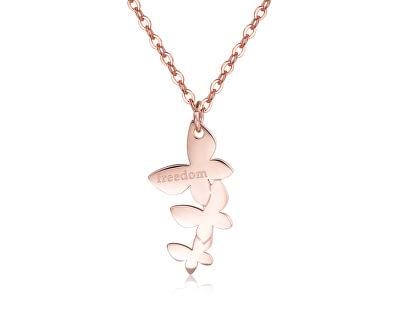 Oceľový náhrdelník s motýlikmi Trio SRI05