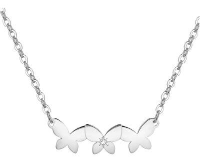 Oceľový náhrdelník s motýlikmi Trio SRI08