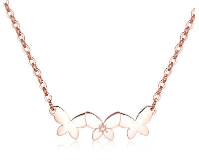 Oceľový náhrdelník s motýlikmi Trio SRI11