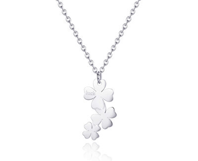 Oceľový náhrdelník sa štvorlístkami Trio SRI03